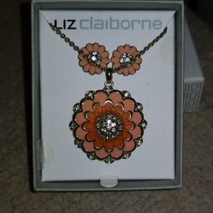 Liz Claiborne flowered earings and neclace set.